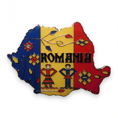 magnet tricolor metalic harta romania (model 1)