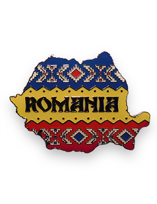 magnet tricolor metalic harta romania (model 2)